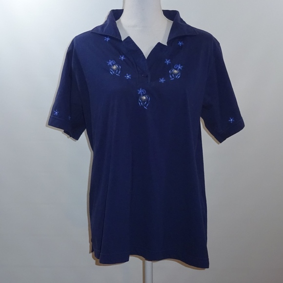 3c9322a943529c Unik Tops | Womens Blouse Navy Blue Embroidered Collar | Poshmark